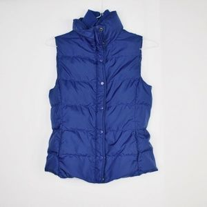 J. Crew Blue Quilted Down Puffer Vest XS